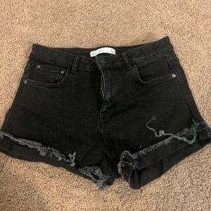 Zara Trafaluc Black High Waist Denim Short USA 4